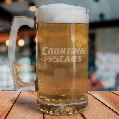 Counting Cars Logo Etched 25 oz Beer Glass