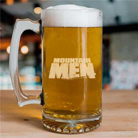 Mountain Men Etched 25 oz Beer Glass