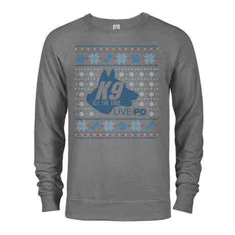 Live PD K9 All The Time Holiday Lightweight Crewneck Sweatshirt