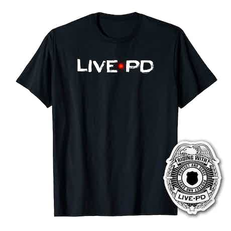 Live PD Logo Men's Short Sleeve T-Shirt With Sticker Bundle