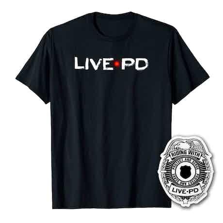Live PD Logo Men's Short Sleeve T-Shirt With Sticker Bundle