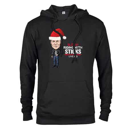 Live PD Sleigh Riding With Sticks Lightweight Hooded Sweatshirt