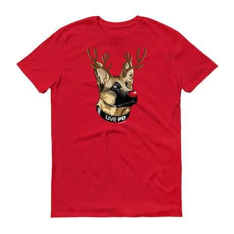 Live PD K9 Rudolph Adult Short Sleeve T-Shirt